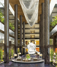 An artist's impression of the hotel lobby.