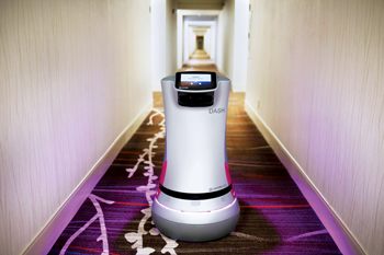 A delivery robot at the Crowne Plaza San Jose-Silicon Valley hotel