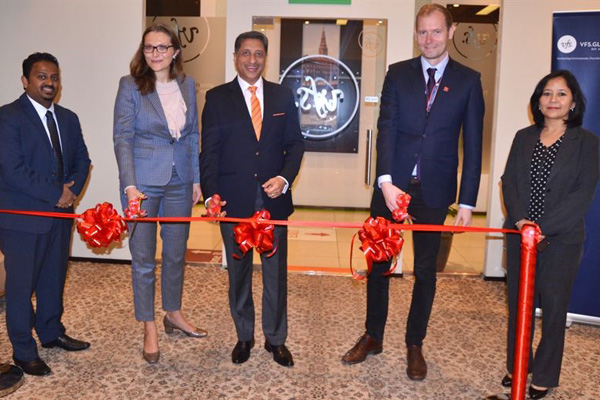 Juhl (2nd from L) and Malhotra (centre) inaugurate the new centre in Dubai