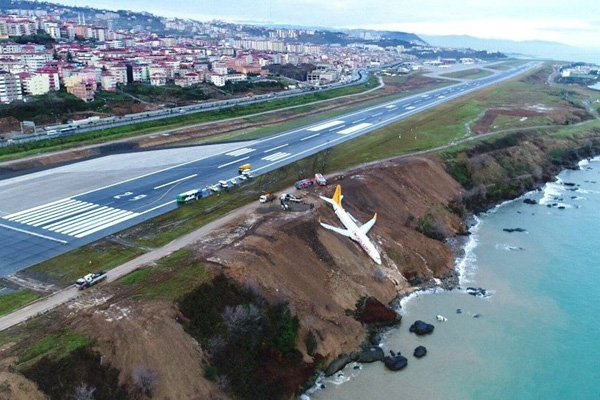 The Pegasus aircraft lying stuck on the side of the cliffImage Twitter  Turkish Air News