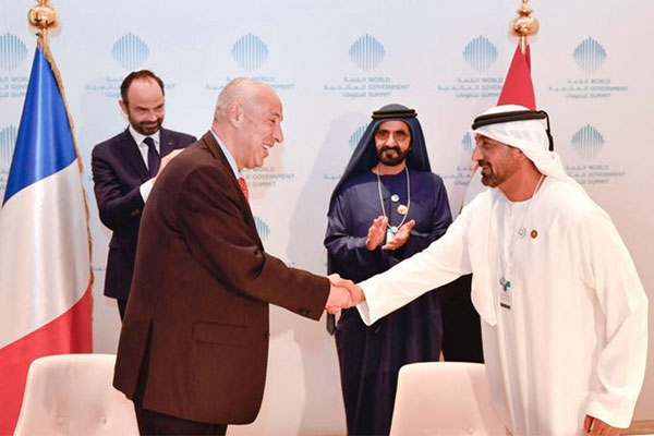 Mikail Houari and Sheikh Ahmed sign the agreementon the sidelines of the World Government Summit in Dubai